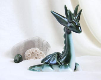 Magical Emerald Green Dragon -- Hand Made Ceramic Eco-Friendly Home Decor by studio Vishnya