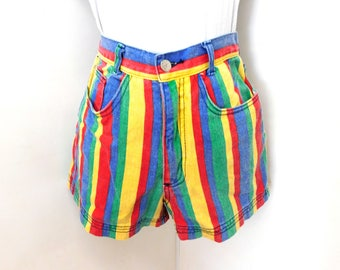 Vintage 90s Striped Short High Waist Denim Cotton In Living Color Hip Hop Summer Urban Hipster Chic XS S Small