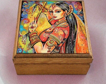 Indian dancer, Bollywood dance, dancing woman, Indian woman art art box, handmade art box, jewelry box, 3.5x3.5+