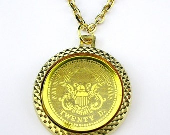 Coin Necklace 1776 Commemorative Gold tone