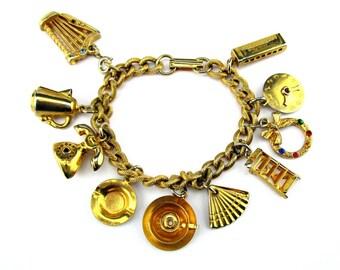 Charm Bracelet Gold tone 1950's