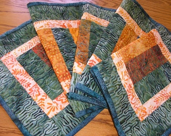 Quilted Table Runner, Teal, Blue, Green and Gold Batiks, Stacked Coins Runner, 12 x 40 1/2 inches
