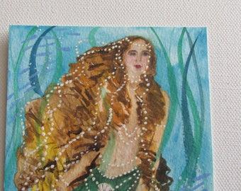 Mermaid Art Print 5 X 7 Nautical Art Whimsical Watercolor Art Print Fantasy Sea Fairy