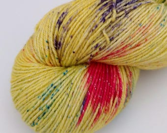 Luna Lovegood - Speckled - Hand Dyed Merino and Lurex Sock Yarn - Shimmer
