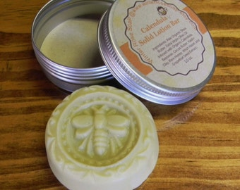 All Natural Calendula Solid Lotion Bar - Coconut Free - Palm Free