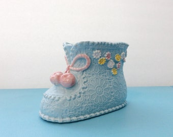 vintage 1960's planter // floral blue ceramic // 60's baby boot