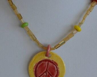 On sale Pretty Handmade Orange, Yellow, Multi-Colored Peace Pendant Beaded Necklace (B8)
