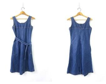 Vintage 1970s Blue Denim Dress Jean Denim Jumper Bib Dress Denim Boho Chic Fall Dress Women's size Small Medium