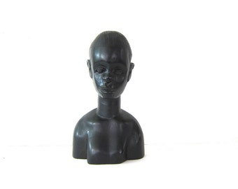 Vintage African Bust Carved Black Man African Warrior Tribal Decor Vintage Art Man Figurine Ethnic Head Carving Statue Art Possibly Ebony