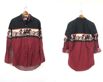 Western Horse Print Shirt Maroon Red Black Tribal Pearl Snap Shirt Cowboy Southwestern Hipster Top Vintage Men's Size Medium