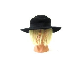 Vintage Black Hat Street Smart Preppy Wool Felt Arlin Fashion Hat Size Large Retro Hipster Women's Hat Small Medium