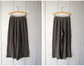 Minimal Cotton Lounge Pants Wide Leg Goucho Pants Elastic Waist Crinkle Green Gray Pants Modern Womens Semi Sheer Resort Wear Bottoms M/L