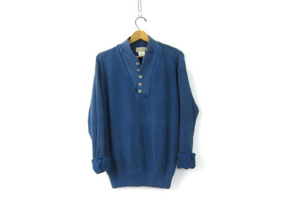 Blue Henley Sweater Button Up Neck Pullover Preppy Slouchy Cotton 90s Ribbed Knit Sweater Unisex Vintage Men's Size Large Long