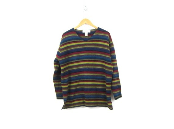 Wool Knit HARVEST Sweater 90s Lambs Wool Knit Pullover Sweater Red Purple Blue Striped Preppy VNeck Sweater Womens Small Medium
