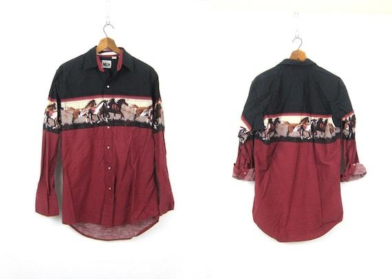 Western Horse Print Shirt Maroon Red Black Tribal Pearl Snap Shirt Cowboy Southwestern Hipster Top Vintage Men's Size Medium