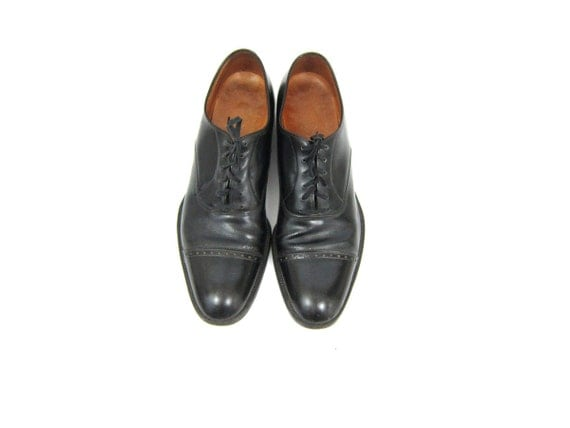 Black Leather Men's Shoes lace up dress Florshiem shoes Leather Oxfords Brogues Man's size 10 AA