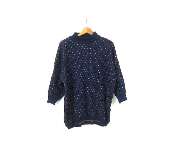 90s Slouchy Venezia Sweater Jumper Oversized Blue Knit Preppy Sweater Mock Neck Collar Long Top Women's OSFM one Size Fits Most