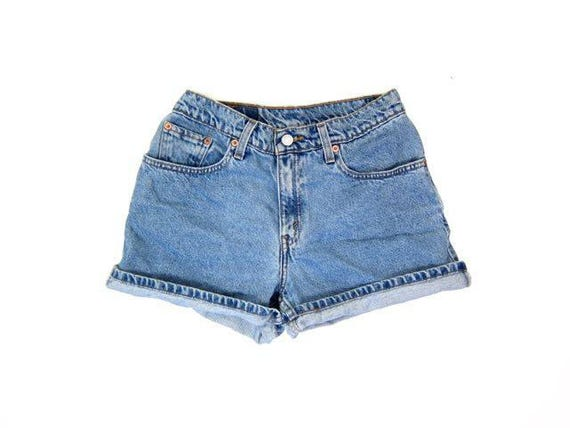 Vintage LEVIS jean shorts 90s Light Wash Blue denim shorts Grunge Shorts DES High Rise Levis Shorts High Waist Shorts Womens Small Medium