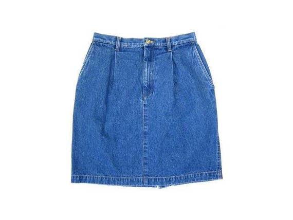 90s Jean Skirt High Waist Medium Wash Denim Mini Skirt Preppy Womens Miniskirt Boho PreppyBlue Skirt Vintage DES Medium Size 6