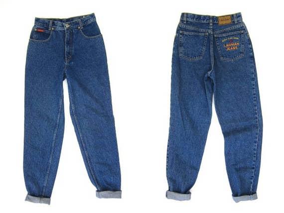 80s High Waist Dark Wash Blue Jeans Denim Tapered Leg Boyfriend Mom Jeans Vintage Farmers Mechanics 1980s Hipster Grunge DES Womens Small