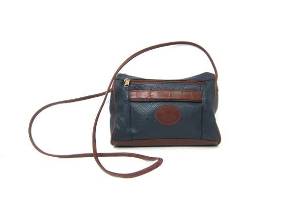 90s Small Blue Purse with Crossbody Strap Preppy Shoulder Bag Vintage Simple Cross Body Preppy Purse Man Made Faux Leather Vinyl Purse