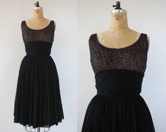 vintage 1950s dress / 50s black sequin party dress / 50s little black dress / 50s LBD / 50s illusion bust line / 50s chiffon dress / S M