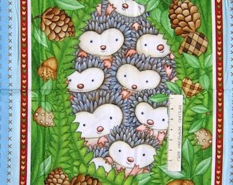 "23"" Fabric PANEL - Henry Glass Hedgehugs Woodland Animal Nursery Wallhanging"