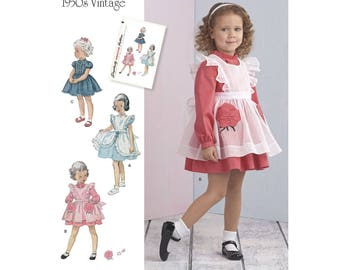GIRLS CLOTHES PATTERN / Vintage 50's Style Dress - Pinafore / Sizes 1/2 - 4 / Summer - Party Clothes