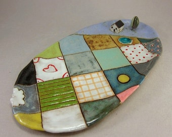 Summer Quilt...Small Oval Trinket Dish in Stoneware