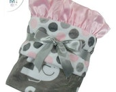 SALE Pink and Gray Polka Dot Elephant Minky Baby Blanket, Pink and Gray Mod Dot Minky baby Blanket Can Be Personalized