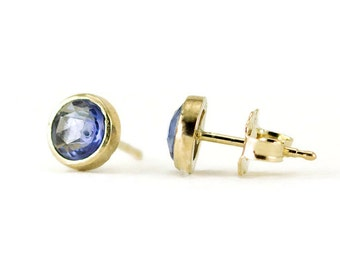 Sapphire Gold Stud Earrings - 14k Rose Cut Sapphire Studs - Yellow, White or Rose Gold
