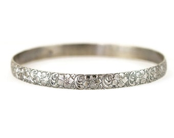 Sterling Flower Bangle Bracelet - Wide Sterling Layering Bangle -  Floral Pattern Bangle