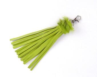Green Leather Tassel with Fur Trim