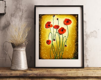 Flower Art Red Poppy Art Print, Red Poppies Wall Art Rustic Wall Decor, Country Home Decor, Gift for Her