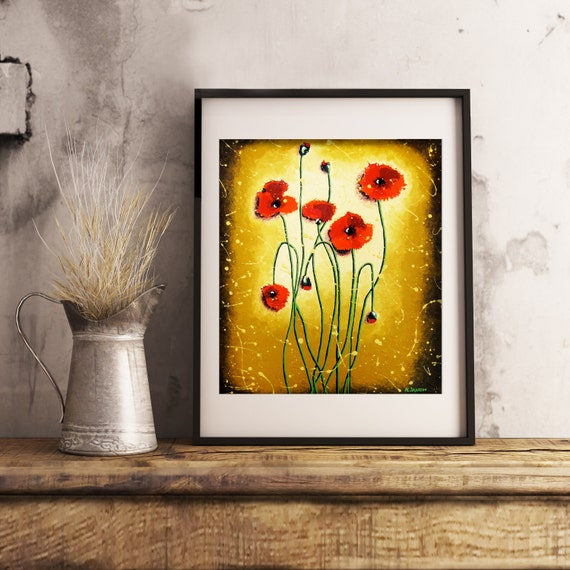 """Red Poppy Art Print, Red Poppies Wall Art Rustic Wall Decor, Flower Art Country Home Decor, Gift for Her 12""""x14"""""""