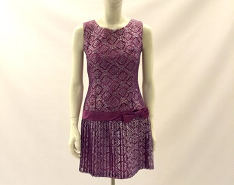 Vintage Dress 1960s Dress Purple Dress Lace Dress Party Dress Short Dress Fancy dress