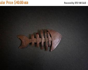 40% OFF SALE Leather fish brooch Large unique Designer Jewelry