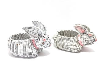 vintage bunny rabbit baskets easter baskets white wicker bunny baskets candy container