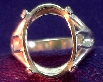 Sterling Silver ~ 20x15mm Oval Cabochon Side Deco ~ Ring setting / Mounting ~ Custom sized from 6 to size 14 ~ to be ordered ~ #900 ~ FDK