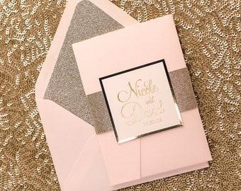 Foil - Blush and Gold Glitter Pocket Folder Wedding Invitations - SAMPLE (BAILEY)