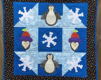Penguin and snowflake applique quilted wall hanging - 31 inch / churn dash / blue, teal / quilt / winter / christmas / gift / holiday decor