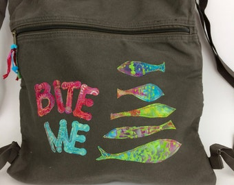 Canvas Appliqued Backpack-Khaki Green Tote- Fish Themed Bag-Appliqued Bag, Fabric Backpack, Cinch Bag,  Appliquéd Fish Canvas Tote