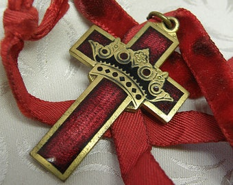 Catholic Cross ..RED Cross with CROWN on old Velvet Ribbon