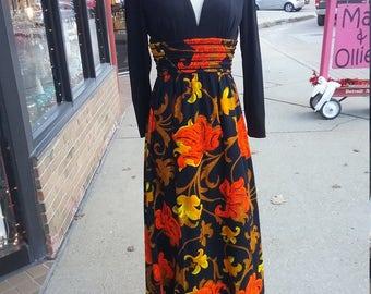 Vintage Long Dress Quilted Crepe Skirt Sequin Embellished