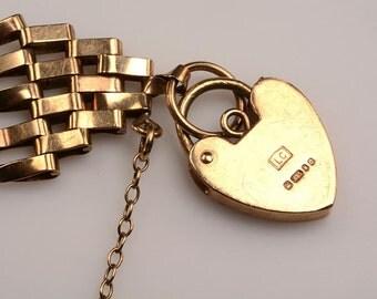 9kt English 5 Bar Gate Bracelet - Victoriana - hallmarked heart shaped clasp - no damages