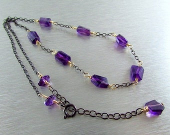 25% Off Amethyst and Oxidized Sterling Silver Necklace