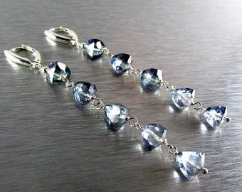 25 % OFF Grey Mystic Quartz Trillion Cut Sterling Silver Earrings