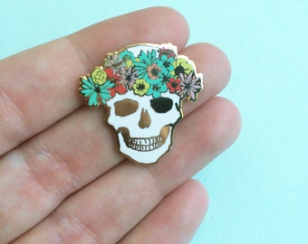 flower crown skull pin hard enamel brooch pin mothers day gift for her spring springtime flair easter lapel pin cloisonné gold metal skull