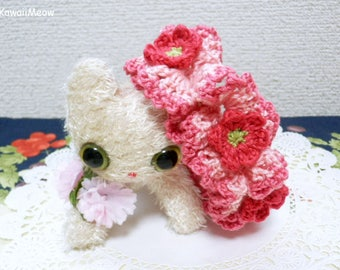 Double Frill Crocheted Scrunchie - Lovely Pink Petit Flowers