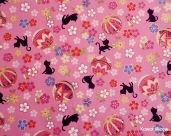 Cute Kimono Fabric - Temari Cats Sakura on Pink - Fat Quarter (nu170419)